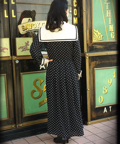 Double Cuffs Sailor Long One-piece (PolkaDot)【SVY-OP112】