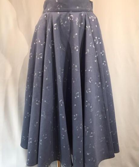 Rame Note Print Extra Long Circular Skirt【SVY-SK066】