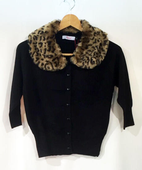 Leopard Collar 3/4 Sleeve Cardigan【CA21065】