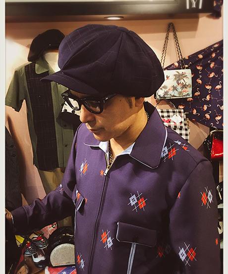 Navy&Red Kimono Kasuri Big Casquette【SVY-HT105】