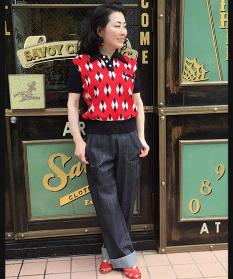 Argyle Pullover Summer Knit(Ladies Free)【SVY-KN041】