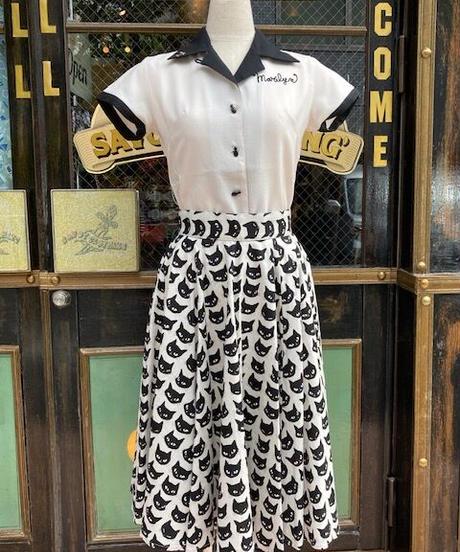 Black Cat Long Circular Skirt【SVY-SK068】