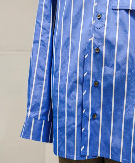 my beautiful landlet / LOOSE DRESS STANDCOLLA  SHIRT -BLUE-