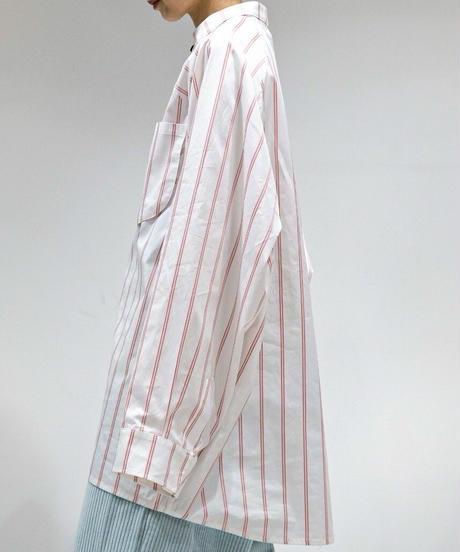 my beautiful landlet / LOOSE DRESS STANDCOLLAR SHIRT -RED-