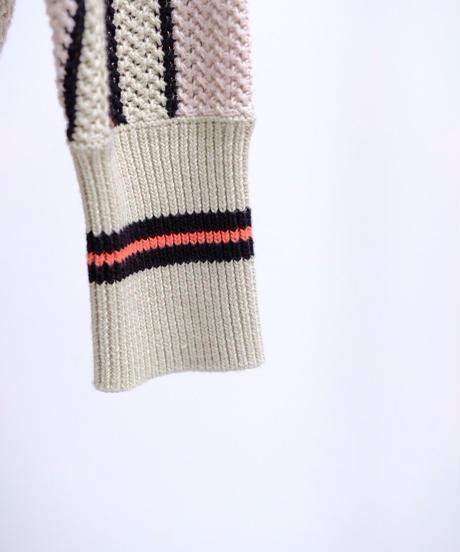 KLOKE / TEMPER SWEATER -Ecru-Mint-Black-Stripe-