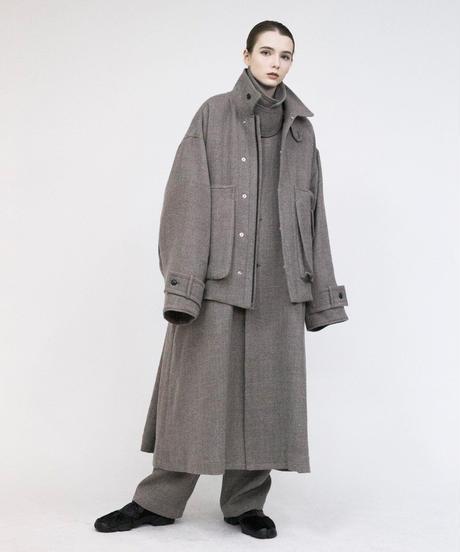 VOAAOV / Soft Wool Twill Long Coat -BEIG-