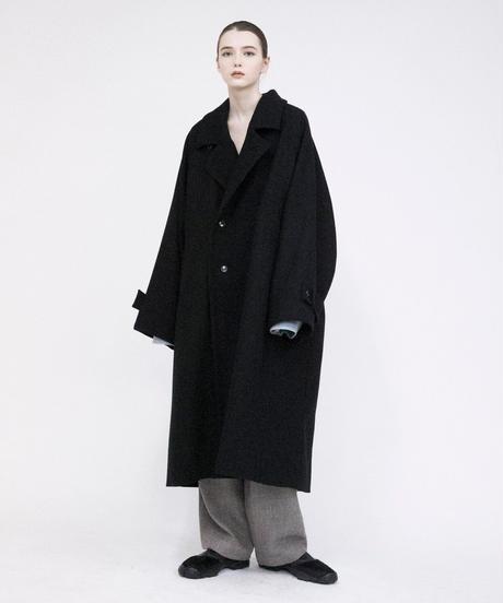 VOAAOV / Yabure Oil Cut Wool Long Coat -CHARCOAL-