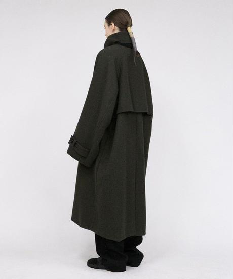 VOAAOV / Yabure Oil Cut Wool Long Coat -OLIVE-