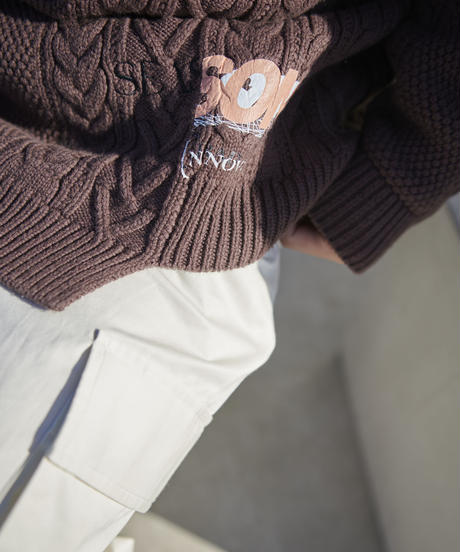 【2020.12.12(sat)21:00-PRE ORDER】Re-eddition Cable knit(Brown)