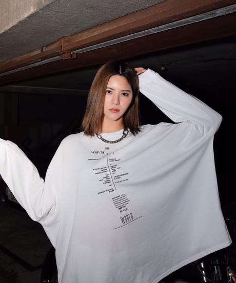 Over size drop long-tee(White)