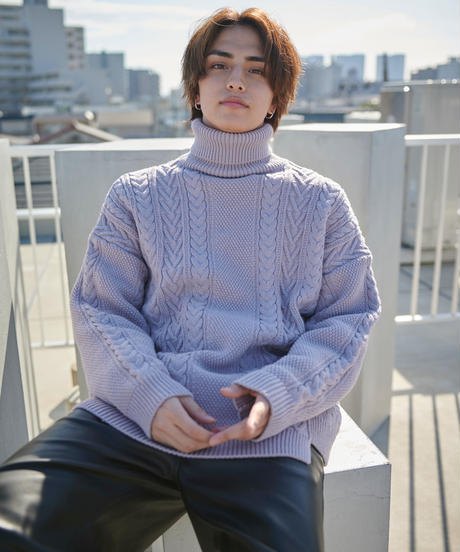 【2020.12.12(sat)21:00-PRE ORDER】Re-eddition Cable knit(Lilac)