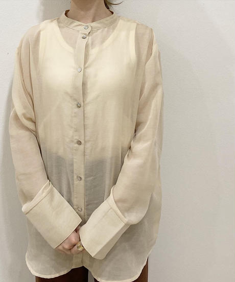 sheer stand collar shirt