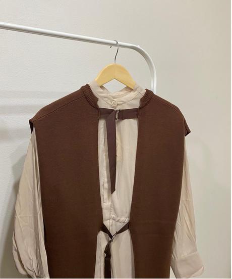 back belt knit vest one-piece