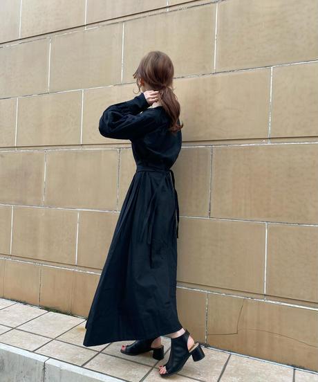 waist mark cotton one-piece/black