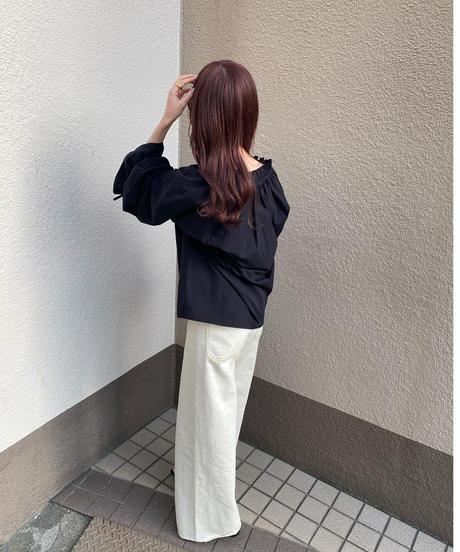 〈予約/4月中旬〉gather ribbon blouse