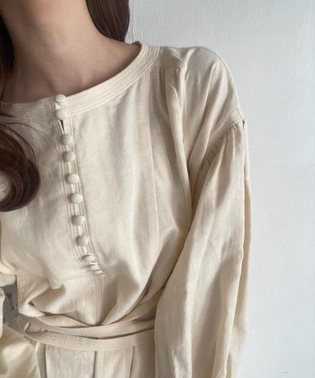 〈予約/4月中旬〉waist mark cotton one-piece/ivory