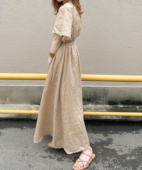 flare sleeve linen one-piece