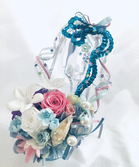 【プリザーブドフラワー/ガラスの靴シリーズ/リングピロー使用OK】マーメイドプリンセスの恋と幸福と喜び