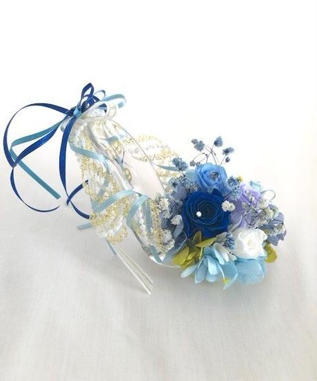【プリザーブドフラワー/ガラスの靴ミニシリーズ】ブルーのミニ薔薇リボンのガラスの靴