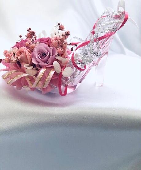 【プリザーブドフラワー/ガラスの靴ミニシリーズ】ピンクの薔薇のプリンセスシューズ