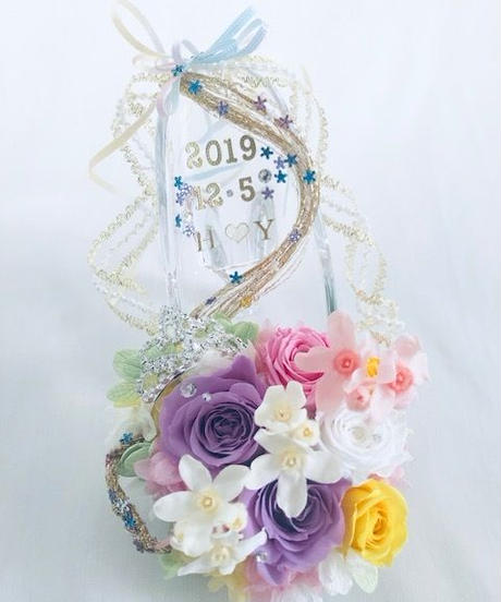 【プリザーブドフラワー/ガラスの靴シリーズ】プリンセスの金色の髪の魔法とティアラ