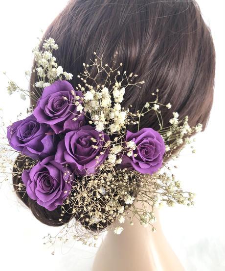【ヘッドドレス/髪飾りプリザーブドフラワー/ウェディング・前撮り和装】紫の薔薇ゴールドかすみ草
