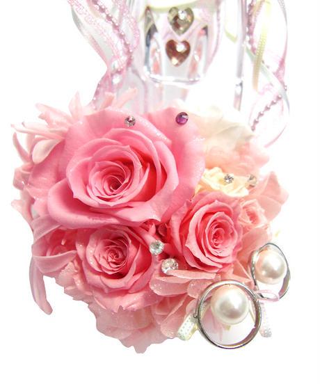 【プリザーブドフラワー/ガラスの靴リングピロー】ガラスの靴と薔薇たちがいっしょに見るロマンチックでスイートな夢