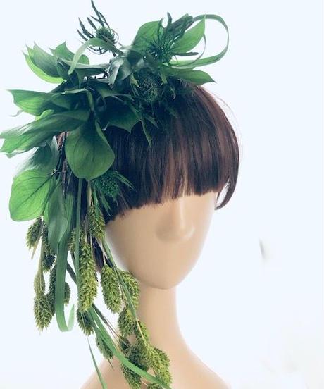 プリザーブドフラワーグリーンの髪飾り ヘッドドレスパーツ