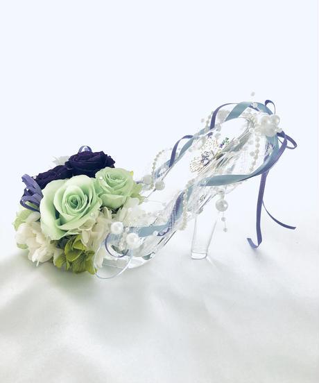 【プリザーブドフラワー/ガラスの靴シリーズ】パープルとグリーンの美しい魔法の時間【フラワーケースリボンラッピング付き】