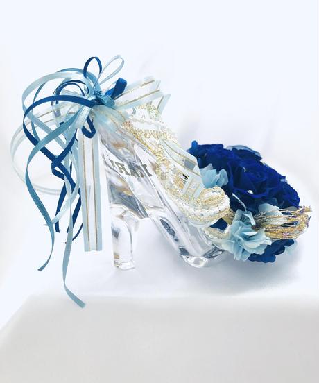 【プリザーブドフラワー/青い薔薇の夜空に染まった星空のガラスの靴】【リボンラッピング付き】リングピロー使用もOK