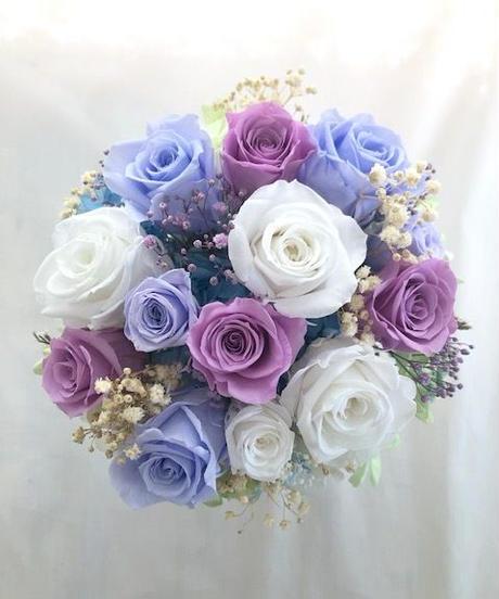 【プリザーブドフラワー/ROSEアレンジ 】3色の薔薇の美しく静かなエレガンス