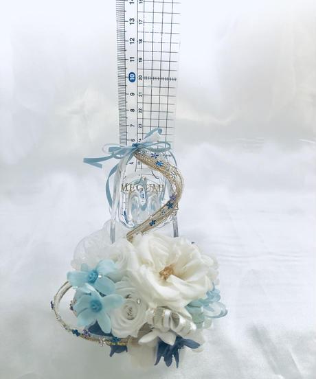 【プリザーブドフラワー/ガラスの靴ミニシリーズ】白薔薇とブルースター