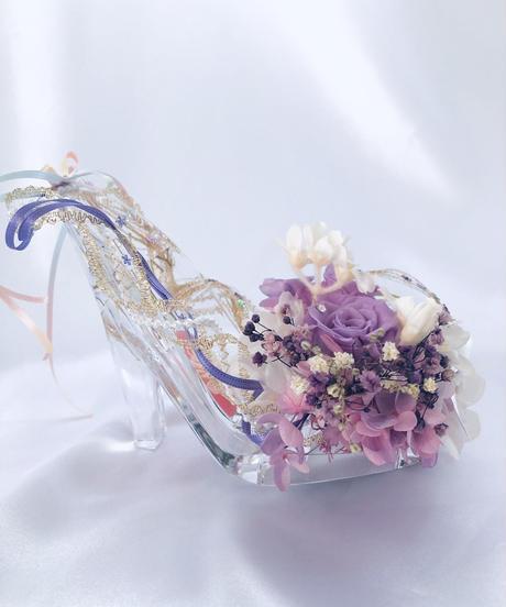 【プリザーブドフラワー/ガラスの靴/パープルドレスのプリンセスの魔法の靴/フラワーケースリボンラッピング付き】