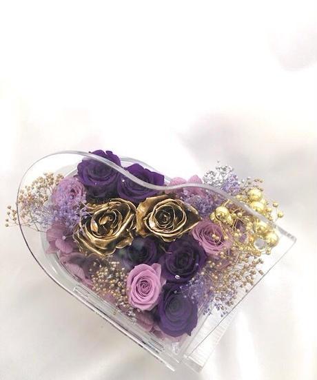 【プリザーブドフラワーピアノアレンジ紫の薔薇と金色の薔薇の音色】フラワーケースリボンラッピング付き