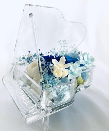 【プリザーブドフラワー/グランドピアノシリーズ】青い薔薇の奇跡とブルーROSEの流れるような美しい音色
