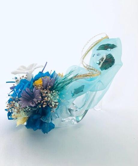 【プリザーブドフラワー/ガラスの靴/ ジャスミンの魔法の靴/リングピロー使用OKフラワーケースリボンラッピング付き】