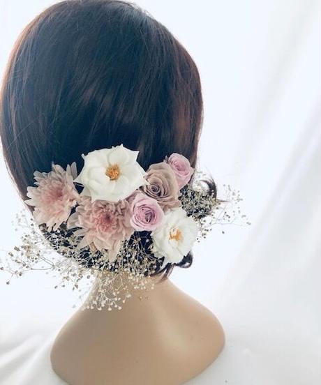 プリザーブドフラワー/ヘッドドレス•くすみピンクとカスミ草(成人式 前撮り和装ウェディング)