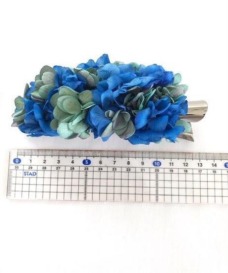 【プリザーブドフラワー/ヘアアクセサリーシリーズ/本当の紫陽花の髪飾り】落ち着きのある美しく神秘的な表情のブルーとグリーンの髪飾り