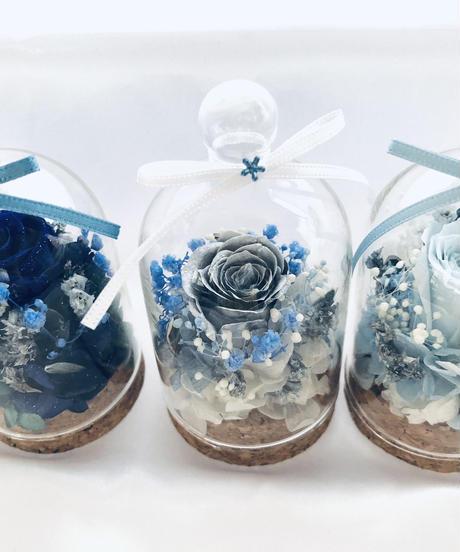 【プリザーブドフラワー/青い薔薇の奇跡ミニドームアレンジ】