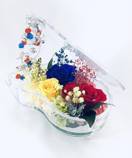 【プリザーブドフラワー/グランドピアノシリーズ】赤青黄色の薔薇に秘めた想い