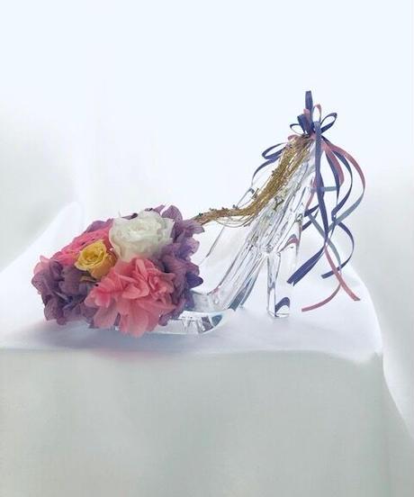 【プリザーブドフラワー/ガラスの靴シリーズ】パープルドレスのプリンセスの金色の髪の魔法のガラスの靴