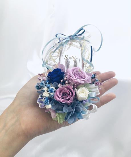 【プリザーブドフラワー/ガラスの靴ミニシリーズ】パープルと青い薔薇のフラワーシューズ