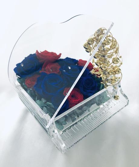 【プリザーブドフラワー/グランドピアノシリーズ】青と赤の薔薇の冷静と情熱の音色