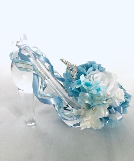 【プリザーブドフラワー/ガラスの靴シリーズ】シンデレラのティアラと魔法の時間【フラワーケースリボンラッピング付