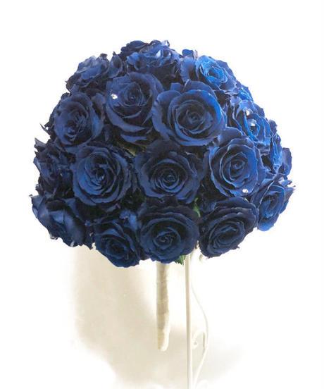 青い薔薇50輪の花束アレンジ/枯れない薔薇プリザーブドフラワー/花束ラッピングブーケスタンド付き