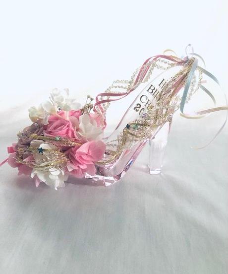 【プリザーブドフラワー/ガラスの靴/プリンセスの魔法の靴/フラワーケースリボンラッピング付き】