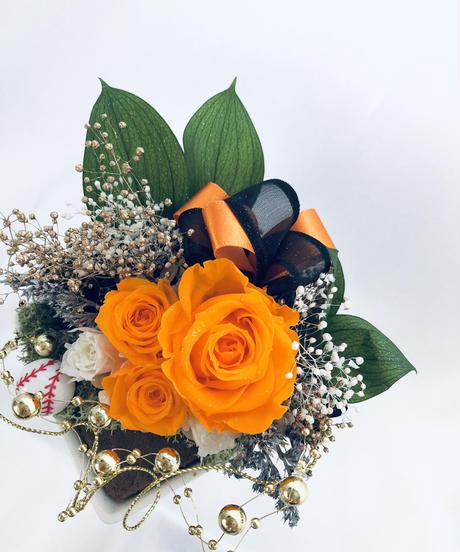 【プリザーブドフラワー野球アレンジ/オレンジ色の薔薇からの応援エール【フラワーケースリボンラッピング付】