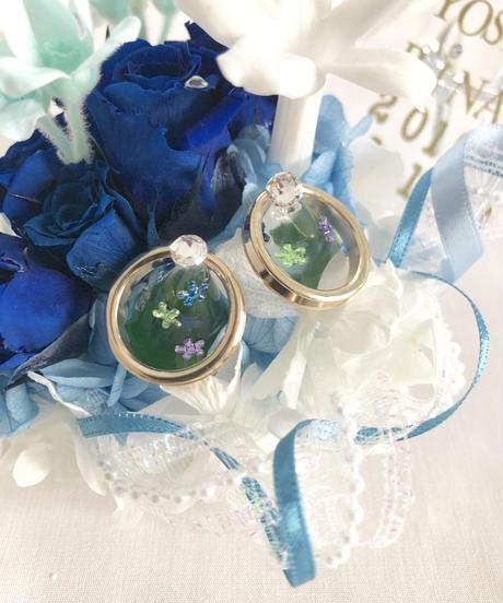 ガラスの靴リングピロー/ウェディング青い薔薇とジャスミンの祝福