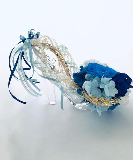【プリザーブドフラワー/シンデレラカラーのガラスの靴/リングピロー使用もOK】【リボンラッピング付き】