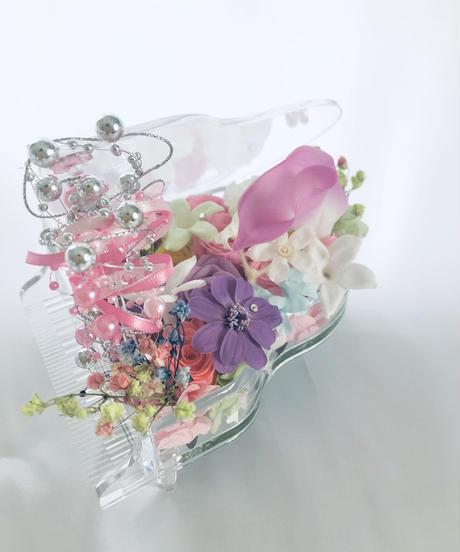 【プリザーブドフラワー/グランドピアノシリーズ】透明のグランドピアノに咲く華やかで繊細なメロディー